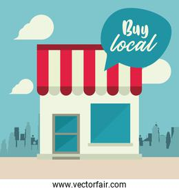buy local poster with store building