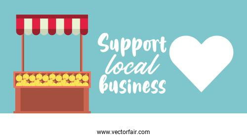 support local business poster with oranges kiosk