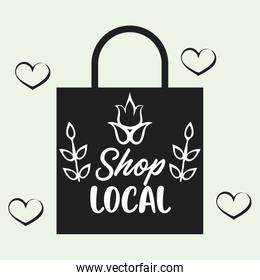 shop local poster with shopping bag