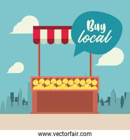 buy local poster with oranges kiosk