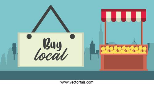 buy local poster with kiosk of oranges fruits