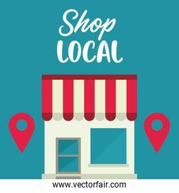 shop local poster with store building