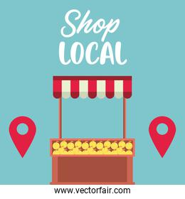 shop local poster with oranges kiosk