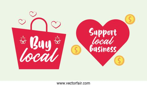 support local business poster with shopping bag and heart
