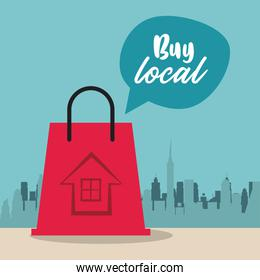 buy local poster with shopping bag