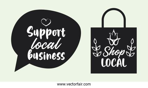 support local business poster with shopping bag and speech bubble