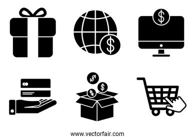 bundle of money and commerce icons
