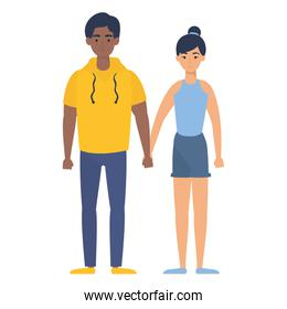 young interracial couple characters avatars