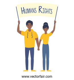 young afro couple with human rights label