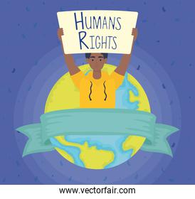 afro man with human rights label and world planet