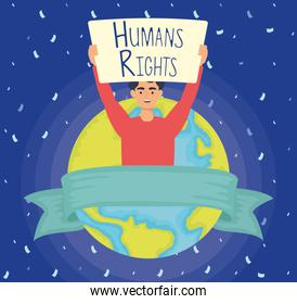 young man with human rights label and world planet
