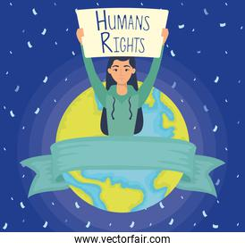 young woman with human rights label and earth planet