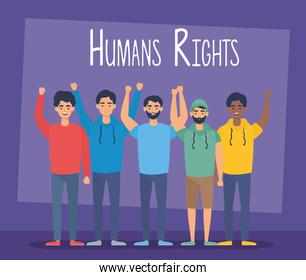 young interracial people with human rights label