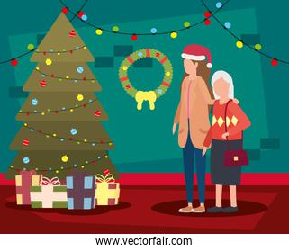 cute grandmother with daughter in room christmas decorated