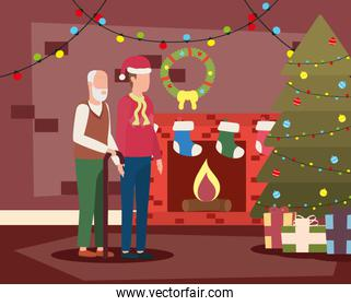 cute grandfather with young son in room christmas decorated
