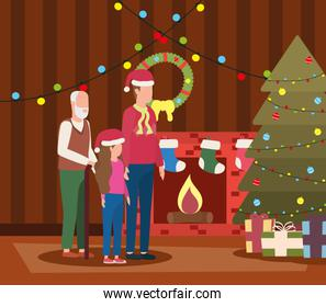 grandfather with son and granddaughter in room christmas decorated