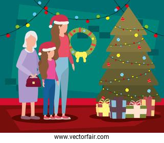 grandmother with daughter and granddaughter in room christmas decorated