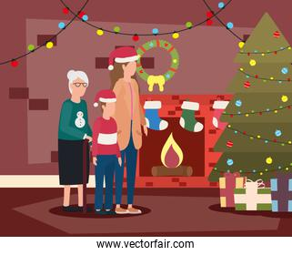 grandmother with daughter and grandson in room christmas decorated