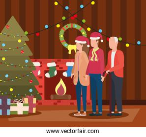 cute grandfather with young couple in room christmas decorated