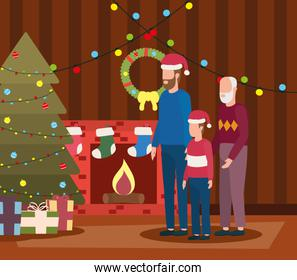 grandfather with son and grandson in room christmas decorated