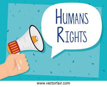 hand with megaphone sound device human rights campaign