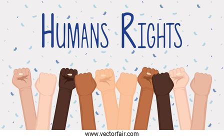 interracial hands fist with humans rights lettering