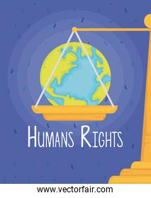 world planet earth in scale with humans rights lettering