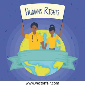young afro couple with human rights label and earth planet
