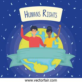 young interracial couple with human rights label and earth planet
