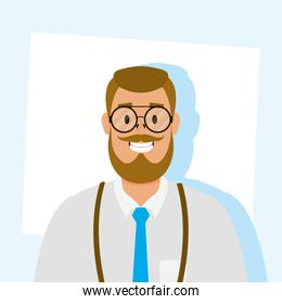 elegant young man with beard avatar character