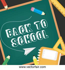 back to school card with supplies and chalkboard