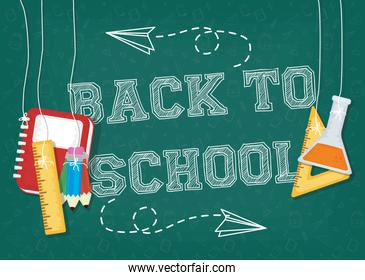 back to school card with supplies and chalkboard classroom