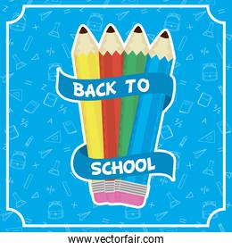back to school card with colors pencils