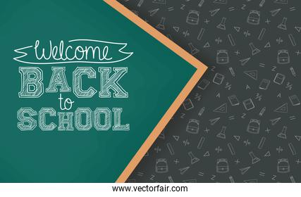 back to school card with chalkboard
