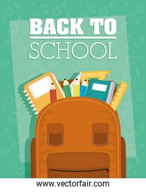 back to school card with schoolbag