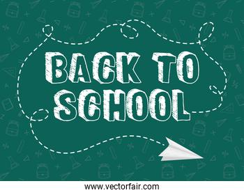 back to school card with chalkboard and paper airplane