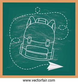 back to school card with chalkboard and schoolbag