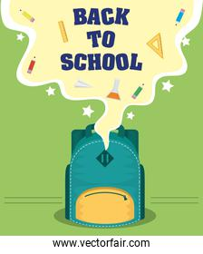 back to school card with schoolbag and supplies