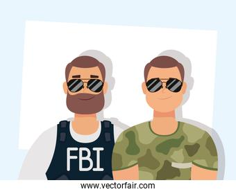 young man with beard fbi agent and military