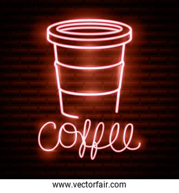 coffee drink neon light label