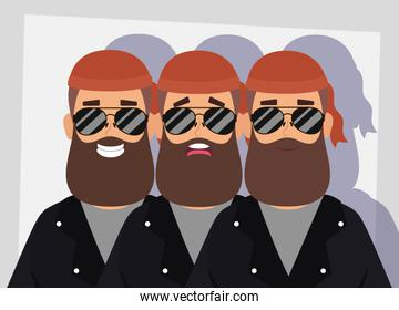motorcyclist men with beard avatars characters