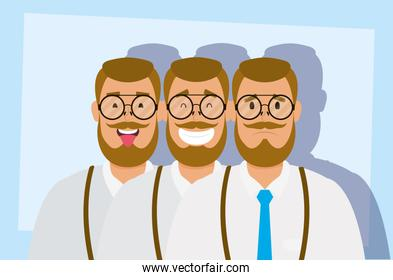 group of men with beard avatars characters