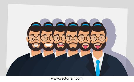 group of men bearded with hats and eyeglasses