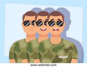group of men with military clothes characters