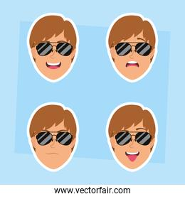 young men heads with sunglasses characters