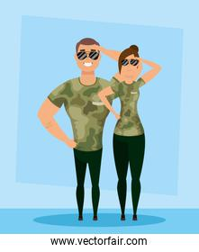 young military couple avatars characters