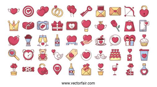 love concept, bundle of valentines day set icons