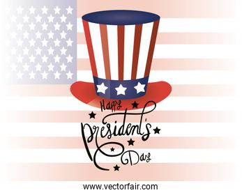 happy presidents day poster with tophat and usa flag