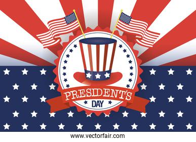 presidents day poster with usa tophat and flags