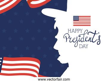 happy presidents day with lettering and usa flag